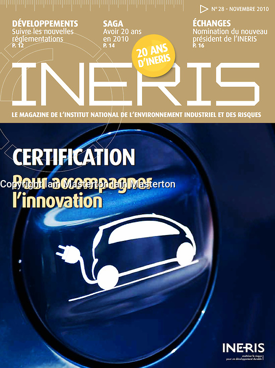 Ineris magazine; Front cover detail of electric car.