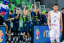 Edo Muric of Slovenia and Gregor Hrovat of Slovenia with teammates during basketball match between National teams of Slovenia and Latvia in Round #10 of FIBA Basketball World Cup 2019 European Qualifiers, on December 2, 2018 in Arena Stozice, Ljubljana, Slovenia. Photo by Grega Valancic