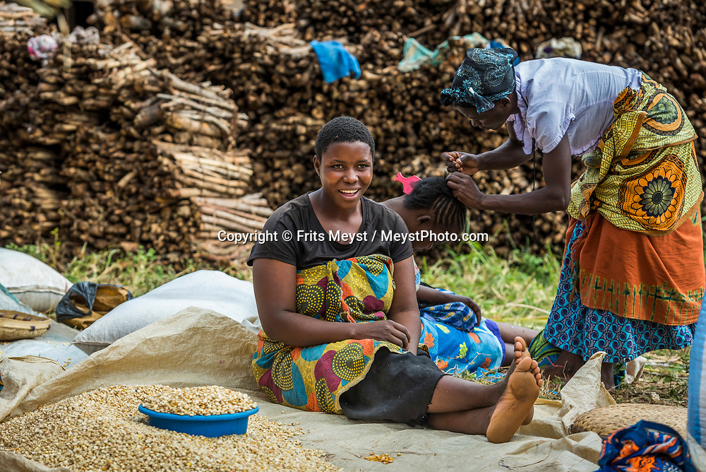 Malawi, July 2017. Village life on market day along the road to Majete Wildlife reserve. Malawi is known for its long rift valley and the third largest lake in Africa: Lake Malawi. Malawi is populated with friendly welcoming people, who gave it the name: the warm heart of Africa. In the south the lake make way for a landscape of valleys surrounded by spectacular mountain ranges. Photo by Frits Meyst / MeystPhoto.com