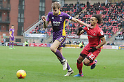 Harry Pell and Sandro Semedo during the EFL Sky Bet League 2 match between Leyton Orient and Cheltenham Town at the Matchroom Stadium, London, England on 25 February 2017. Photo by Antony Thompson.
