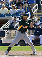 PHOENIX, AZ - FEBRUARY 23:  Brandon Moss #37 of the Oakland Athletics bats in the spring training game against the Milwaukee Brewers at Maryvale Baseball Park on February 23, 2013 in Phoenix, Arizona.  (Photo by Jennifer Stewart/Getty Images) *** Local Caption *** Brandon Moss
