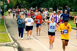 Stock photo of marathon participants in the street in the Houston marathon