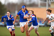 French player N'diaye Safi finds room to run and scores a try in the second half during the Women's 6 Nations match between England Women and France Women at the Keepmoat Stadium, Doncaster, England on 10 February 2019.