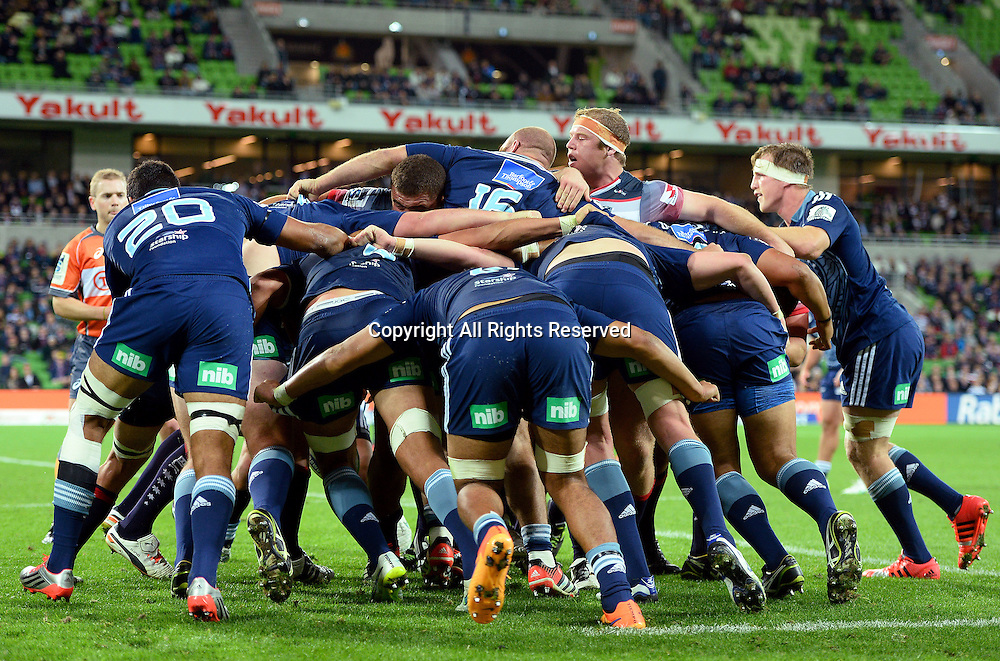 Forward pack (Blues)<br /> Auckland Blues vs Melbourne Rebels<br /> Rugby Union - 2015 Investec Super Rugby <br /> AAMI Park, Melbourne Australia<br /> Friday 8th May 2015<br /> &copy; Sport the library / Jeff Crow