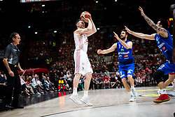 May 26, 2018 - Milan, Milan, Italy - Dairis Bertans (#45 EA7 Emporio Armani Milano) shoots a layup during a basketball game of Poste Mobile Playoff Lega Basket A between  EA7 Emporio Armani Milano vs Germani Basket Brescia at Mediolanum Forum, in Milan, Italy, on 26 May 2018. (Credit Image: © Roberto Finizio/NurPhoto via ZUMA Press)