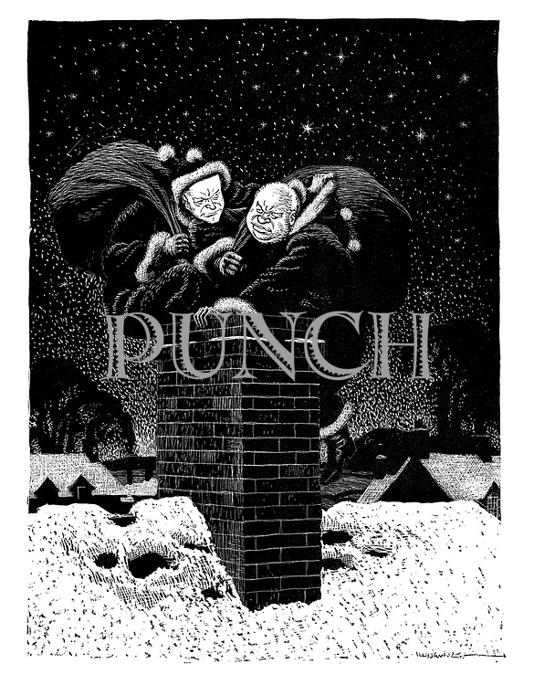 (Nikita Khrushchev and Dwight D Eisenhower as competitive Santa Claus' trying to be first down the chminey at Christmas)