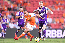 January 18, 2018 - Brisbane, QUEENSLAND, AUSTRALIA - Ivan Franjic of the Roar (#77, left) and Andrew Keogh of the Glory (#9) compete for the ball during the round seventeen Hyundai A-League match between the Brisbane Roar and the Perth Glory at Suncorp Stadium on January 18, 2018 in Brisbane, Australia. (Credit Image: © Albert Perez via ZUMA Wire)