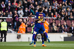 March 18, 2018 - Barcelona, Spain - BARCELONA, SPAIN - MARCH 18: 10 Leo Messi from Argentina of FC Barcelona celebrating his goal with 11 Ousmane Dembele from France of FC Barcelona  during La Liga match between FC Barcelona v Atletic de Bilbao at Camp Nou Stadium in Barcelona on 18 of March, 2018. (Credit Image: © Xavier Bonilla/NurPhoto via ZUMA Press)