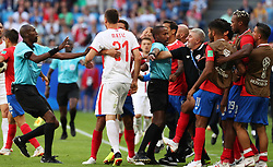 SAMARA, June 17, 2018  Nemanja Matic of Serbia clashes with team members of Costa Rica during a group E match between Costa Rica and Serbia at the 2018 FIFA World Cup in Samara, Russia, June 17, 2018. (Credit Image: © Ye Pingfan/Xinhua via ZUMA Wire)