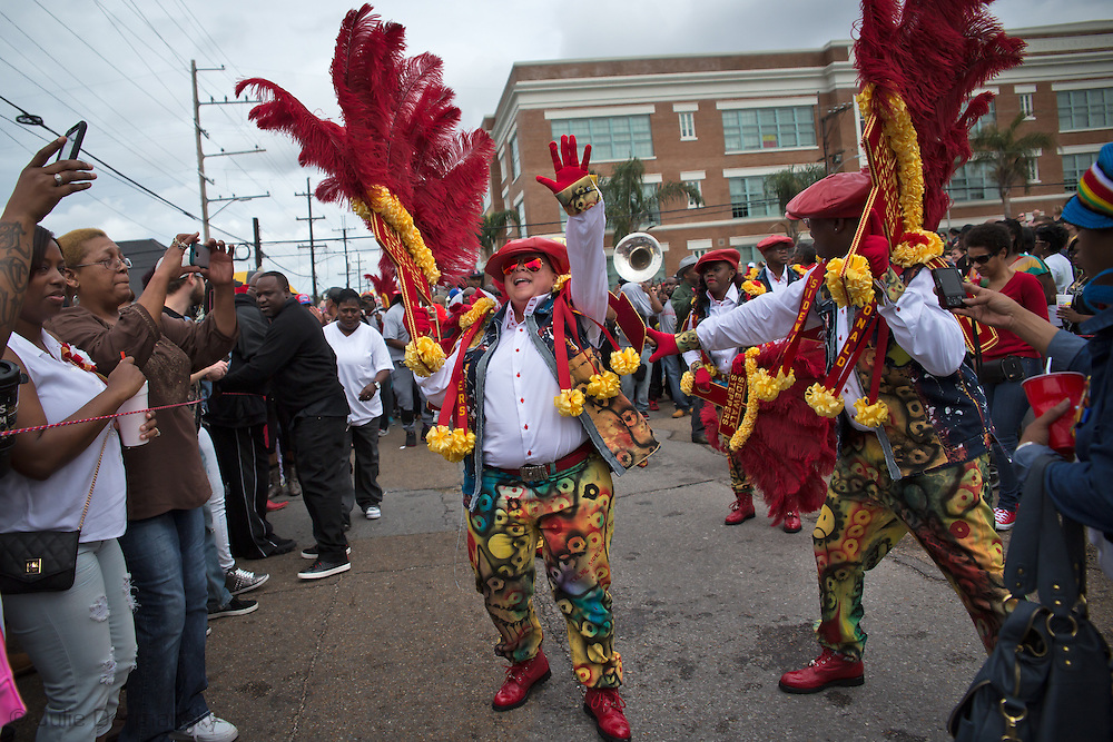 Feb. 1, 2015, New Orleans LA, Participants in the Treme Sidewalk Steppers 31st Annual Second Line Parade.
