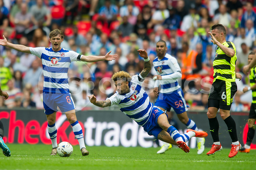 Daniel Williams of Reading during the EFL Sky Bet Championship Play-Off Final match between Huddersfield Town and Reading at Wembley Stadium, London, England on 29 May 2017. Photo by Salvio Calabrese.
