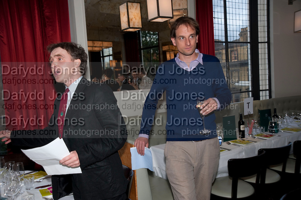WILL FIENNES; CHARLES CUMMING, Literary charity First Story fundraising dinner. Cafe Anglais. London. 10 May 2010. *** Local Caption *** -DO NOT ARCHIVE-© Copyright Photograph by Dafydd Jones. 248 Clapham Rd. London SW9 0PZ. Tel 0207 820 0771. www.dafjones.com.<br /> WILL FIENNES; CHARLES CUMMING, Literary charity First Story fundraising dinner. Cafe Anglais. London. 10 May 2010.