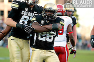 November 23, 2012: Colorado Buffaloes sophomore running back Tony Jones (26) celebrates his touchdown during the NCAA Football game between the Utah Utes and the Colorado Buffaloes at Folsom Field in Boulder Colorado
