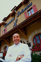 Bernard Loiseau outside his Hotel-Restaurant C(TM)te d'Or, Saulieu, Burgundy, 2000.© Owen Franken