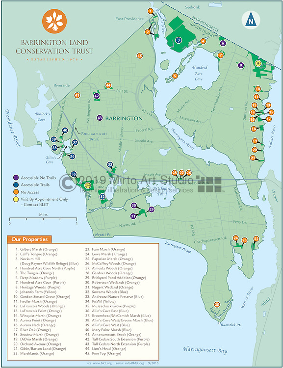 Barrington Land Conservation Trust Property Map in Barrington Rhode