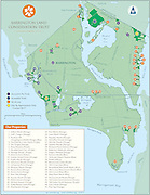 Vector map illustration of the Town or Barrington Rhode Island with the locations of properties managed by the Barrington Land Conservation Trust.