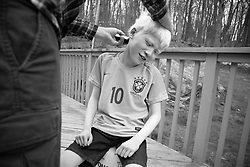 Forest Hoben gets his first haircut at home while social distancing during the coronavirus pandemic in the Hudson Valley, New York. Forest and Lotus Hoben, ages 10 and 6, were adopted from China and have albinism, a rare group of genetic disorders that cause the skin, hair, or eyes to have little or no color. Albinism is also associated with vision problems. According to the National Organization for Albinism and Hypopigmentation, about 1 in 18,000 to 20,000 people in the United States have a form of albinism.