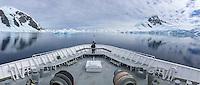 Ship bow POV passing by ice at Danko Island on the Antarctic Peninsula.