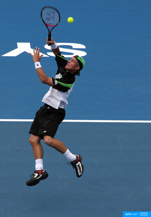 Lleyton Hewitt of Australia during his loss to David Nalbandian of Argentina in the men's Quarter Final match at the Medibank International Sydney Tennis Tournament on January 15, 2009 in Sydney, Australia. Photo Tim Clayton