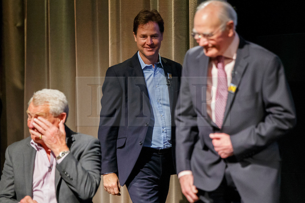 © Licensed to London News Pictures. 07/06/2016. London, UK. Former Liberal Democrat leaders PADDY ASHDOWN, NICK CLAGG and MENZIES CAMPBELL taking part at a Q&A session on EU referendum with Tim Farron in central London on 7 June 2016. Photo credit: Tolga Akmen/LNP
