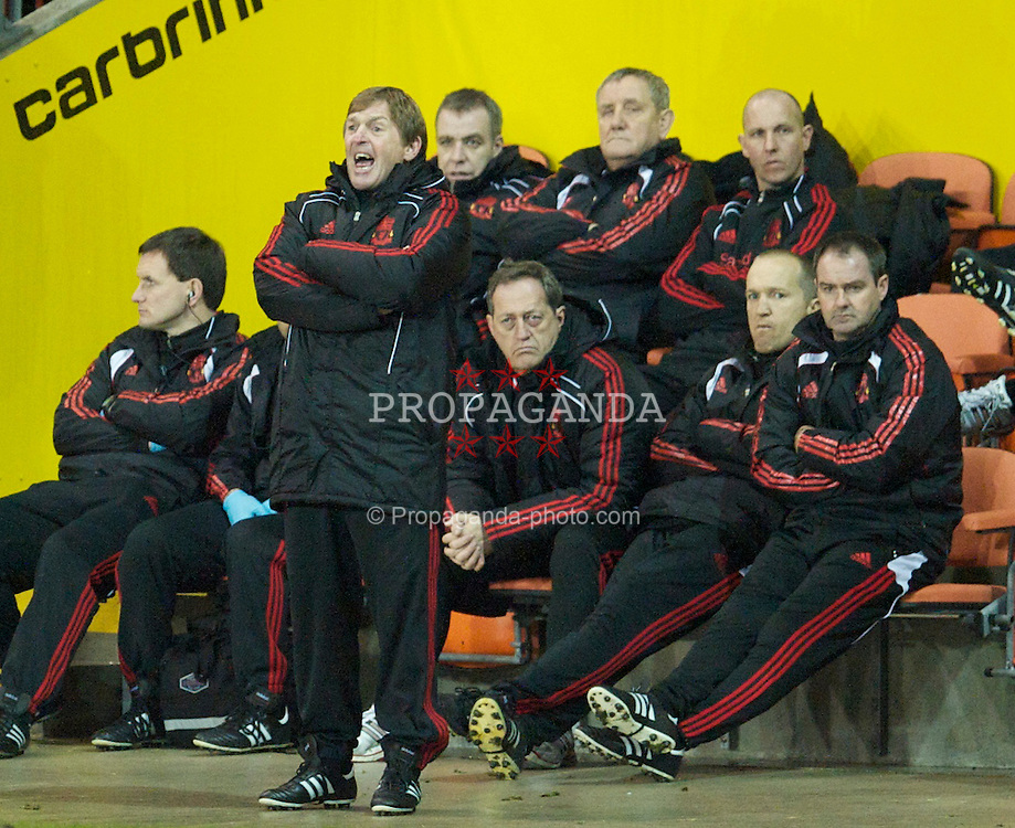 BLACKPOOL, ENGLAND - Wednesday, January 12, 2011: Liverpool's manager Kenny Dalglish during the Premiership match against Blackpool at Bloomfield Road. (Photo by David Rawcliffe/Propaganda)