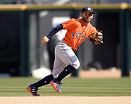 CHICAGO - APRIL 22:  Jose Altuve #7 of the Houston Astros fields against the Chicago White Sox on April 22, 2018 at Guaranteed Rate Field in Chicago, Illinois.  (Photo by Ron Vesely)   Subject:   Jose Altuve