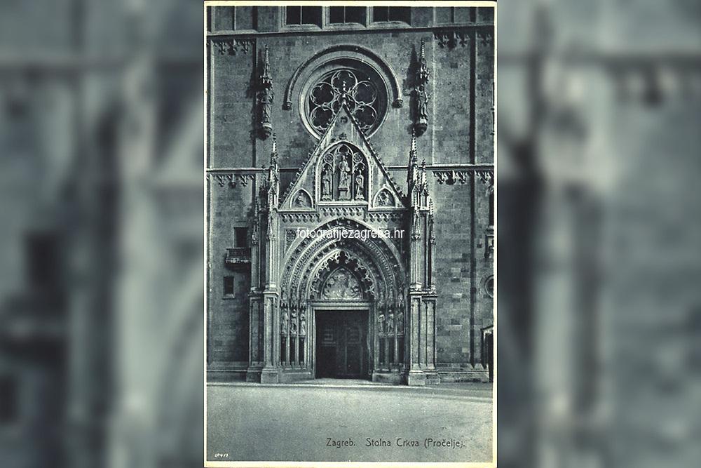 Zagreb : Stolna Crkva (Pročelje). <br /> <br /> ImpresumZagreb : Knjižara i papirnica Kugli, [1929].<br /> Materijalni opis1 razglednica : tisak ; 14 x 9 cm.<br /> NakladnikKnjižara Stjepan Kugli (Zagreb)<br /> Mjesto izdavanjaZagreb<br /> Vrstavizualna građa • razglednice<br /> ZbirkaGrafička zbirka NSK • Zbirka razglednica<br /> Formatimage/jpeg<br /> PredmetZagreb –– Kaptol<br /> Katedrala Uznesenja Marijina (Zagreb)<br /> SignaturaRZG-KAP-85<br /> Obuhvat(vremenski)20. stoljeće<br /> NapomenaRazglednica nije putovala.<br /> PravaJavno dobro<br /> Identifikatori000955840<br /> NBN.HRNBN: urn:nbn:hr:238:826937 <br /> <br /> Izvor: Digitalne zbirke Nacionalne i sveučilišne knjižnice u Zagrebu