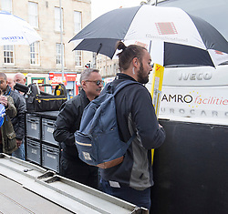Robert Caryle arriving at The Central Bar, in Leith, Edinburgh, to film scenes for the second Trainspotting film, on Monday 16/5/2016.
