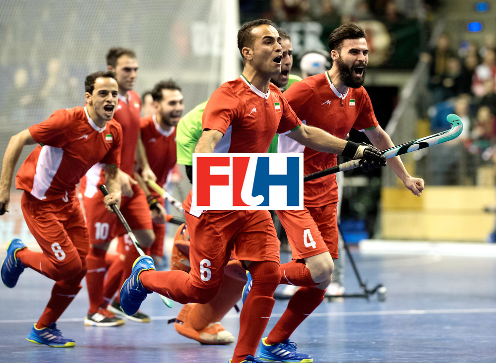 BERLIN - Indoor Hockey World Cup<br /> Quarterfinal 1: Iran - Czech Republic<br /> foto: Iran celebrates the win.<br /> WORLDSPORTPICS COPYRIGHT FRANK UIJLENBROEK