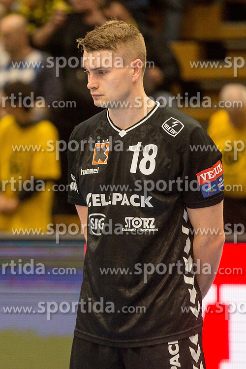 Michal Szyba of Kadetten Schaffhausen during handball match between RK Gorenje Velenje and Kadetten Schaffhausen in VELUX EHF Champions League, on November 25, 2017 in Rdeca Dvorana, Velenje, Slovenia. Photo by Ziga Zupan / Sportida