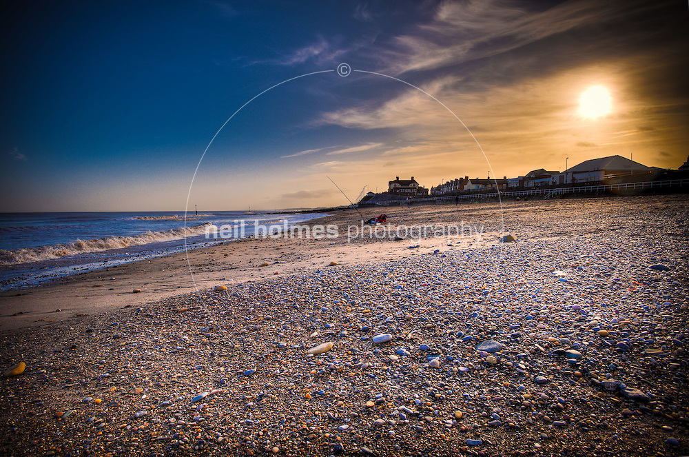 Hornsea beach on a pleasant winter afternoon.