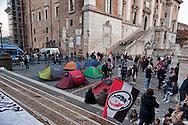 Roma, 26 Novembre 2012.Manifestazione del Movimento Sociale Europeo in Campidoglio per il diritto alla casa contro gli sfratti e per il mutuo sociale.I manifestanti  montano una tendopoli.