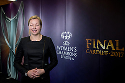 CARDIFF, ENGLAND - Tuesday, February 21, 2017: Jayne Ludlow, Wales 2017 UEFA Women's Champions League Final Ambassador and Current Wales National Team Manager in Cardiff Library to promote the men's and women's UEFA Champions League Finals being staged in Cardiff this June. (Pic by Paul Greenwood/Propaganda)