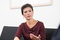 16 MAY 2016, BERLIN/GERMANY:<br /> Sahra Wagenknecht, MdB, Die Linke, Fraktionsvorsitzende DIe Linke Bundestagsfraktion, waehrend einem Interview, in ihrem Buero, Jakob-Kaiser-Haus, Deutscher Bundestag<br /> IMAGE: 20170516-02-048<br /> KEYWORDS: B&uuml;ro
