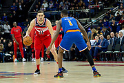 Washington Wizards Tomas Satoransky (31) and New York Knicks Emmanuel Mudiay (1) during the NBA London Game match between Washington Wizards and New York Knicks at the O2 Arena, London, United Kingdom on 17 January 2019.