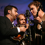 BREVARD, NC - SEPTEMBER 12 :  (L-R) Mike Guggino, Graham Sharp and Woody Platt on stage as the Steep Canyon Rangers perform in the Mountain Song Festival at The Brevard Music Center on September 12, 2009, in Brevard, North Carolina, USA. (Photo by Logan Mock-Bunting/Getty Images)