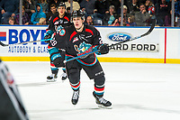 KELOWNA, BC - DECEMBER 01: Nolan Foote #29 of the Kelowna Rockets skates against the Saskatoon Blades  at Prospera Place on December 1, 2018 in Kelowna, Canada. (Photo by Marissa Baecker/Getty Images)
