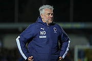 AFC Wimbledon assistant manager Nick Daws walking off the pitch during the EFL Sky Bet League 1 match between AFC Wimbledon and Lincoln City at the Cherry Red Records Stadium, Kingston, England on 2 November 2019.
