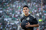 Mexico striker Uriel Antuna (22) cradles ball in jersey like a baby after scoring a goal against Cuba in a CONCACAF Gold Cup soccer match in Pasadena, Calif., Saturday, June 15, 2019. Mexico defeated Cuba 7-0. (Ed Ruvalcaba/Image of Sport)