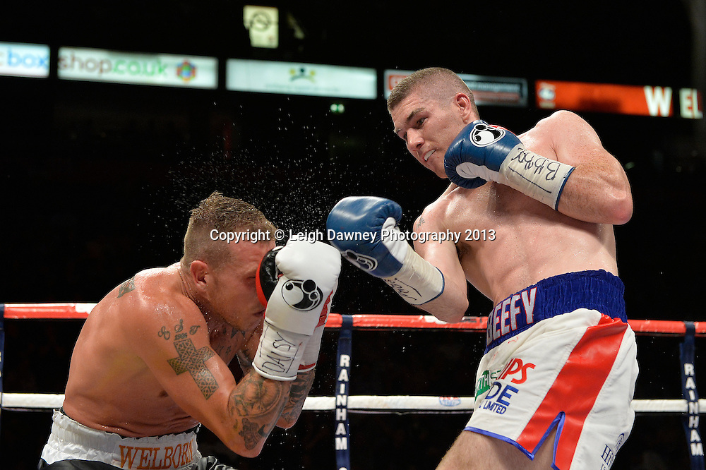 Liam Walsh defeats Jason Welborn for the British Light Middleweight Title on 26th July 2014 at the Phones 4U Arena, Manchester. Promoted by Frank Warren. © Credit: Leigh Dawney Photography.