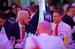 CARDIFF, WALES - Wednesday, June 1, 2016: Wales' Aaron Ramsey and Chris Gunter during a charity send-off gala dinner at the Vale Resort Hotel ahead of the UEFA Euro 2016. (Pic by David Rawcliffe/Propaganda)