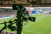 Cameras set up to televise the last game of the season at York. General view of the ground before the Vanarama National League match between York City and Forest Green Rovers at Bootham Crescent, York, England on 29 April 2017. Photo by Mark PDoherty.