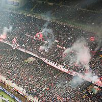 MILAN, FEBRUARY 26: Ultras AC Milan coreography during Italian Championship soccer game, AC Milan - Juventus on february 26, 2012 in Milan