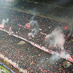MILAN, FEBRUARY 26: Ultras AC Milan coreography during Italian Championship soccer game, AC Milan - Juventus on february 26, 2012 in Milan