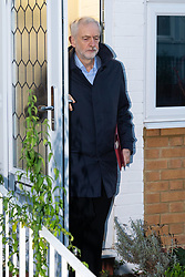 """Jeremy Corbyn leaves his home this morning in the wake of accusations that he called Prime Minister Theresa May """"stupid woman"""". London, December 20 2018."""
