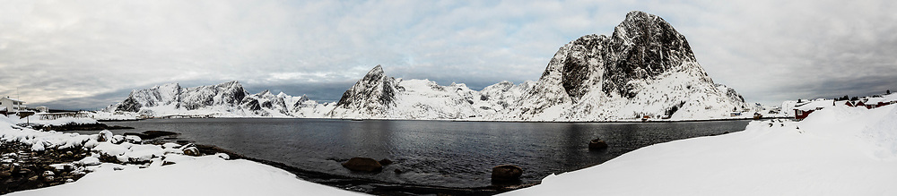 Panoramic view of the  fishing village of Hamnoy, near Reine, on Moskenesoya Island, Lofoten Islands, Arctic, Northern Norway.