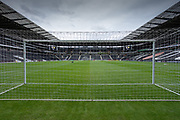 General view from behind the goal of the ground before the EFL Sky Bet League 1 match between Milton Keynes Dons and Burton Albion at stadium:mk, Milton Keynes, England on 5 October 2019.