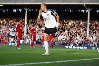 Bobby Zamora celebrates his goal<br /> F.A. Barclays Premiership. Fulham v Liverpool. 31.10.09<br /> Photo By Karl Winter Fotosports International