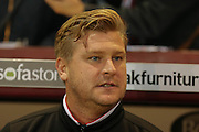 Milton Keynes Dons Manager Karl Robinson during the Sky Bet Championship match between Burnley and Milton Keynes Dons at Turf Moor, Burnley, England on 15 September 2015. Photo by Simon Davies.