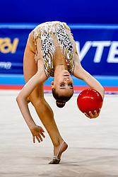 September 14, 2018 - Sofia, Bulgaria - Sabina Tashkenbaeva of Uzbekistan   during  Individual All-Around Final at the Arena Armeec in Sofia at the 36th FIG Rhythmic Gymnastics World Championships  on 14/9/2018. (Credit Image: © Ulrik Pedersen/NurPhoto/ZUMA Press)